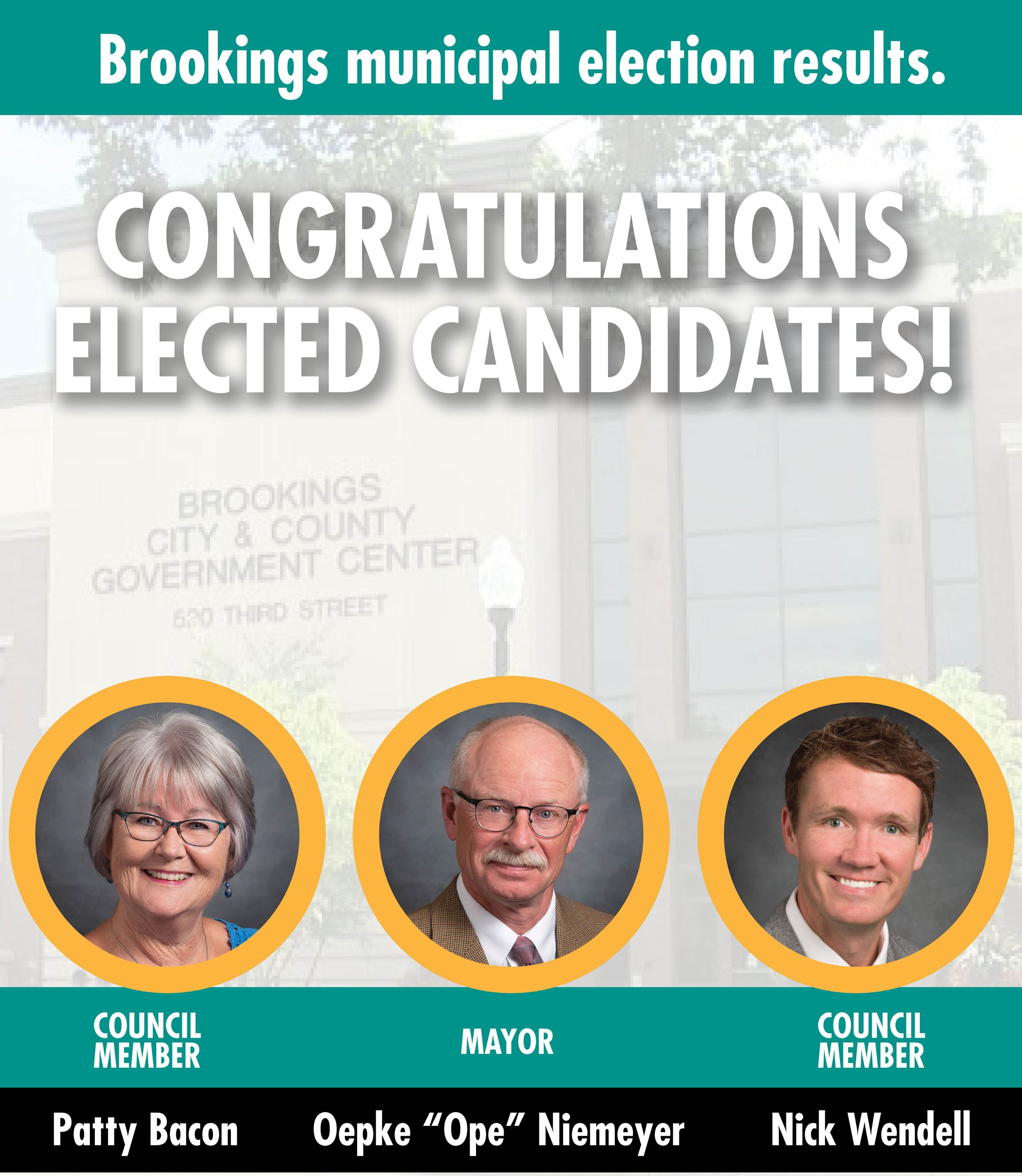 Congratulations Elected Candidates Photo of Oepke Ope Niemeyer Patty Bacon and Nick Wendell