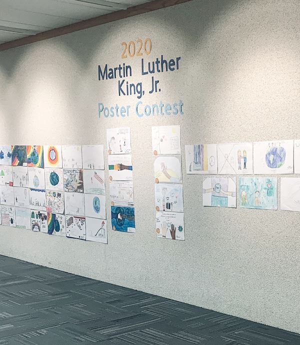 Pictures Hanging on a wall showcasing the Dr. Martin Luther King Jr. Contest