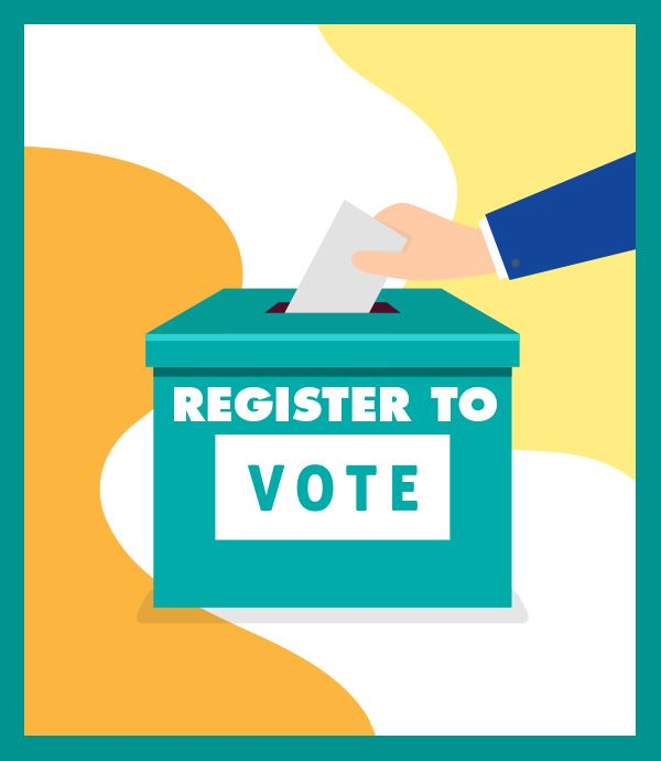 Graphic that says register to vote