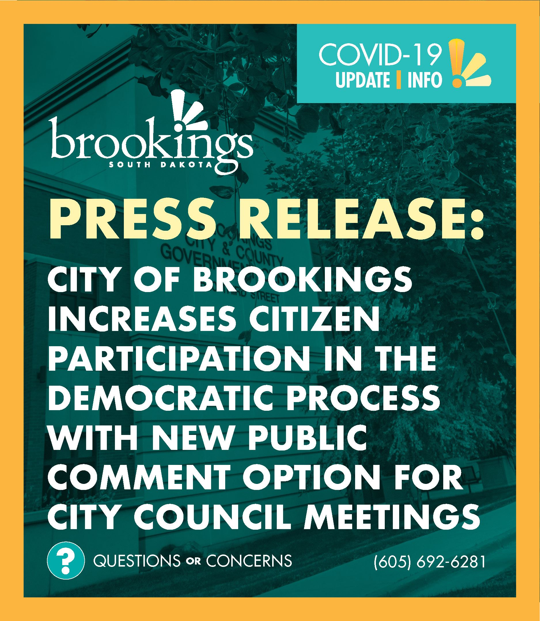 Eccoment Graphic. The City of Brookings Increases Citizen Participation in the democratic process