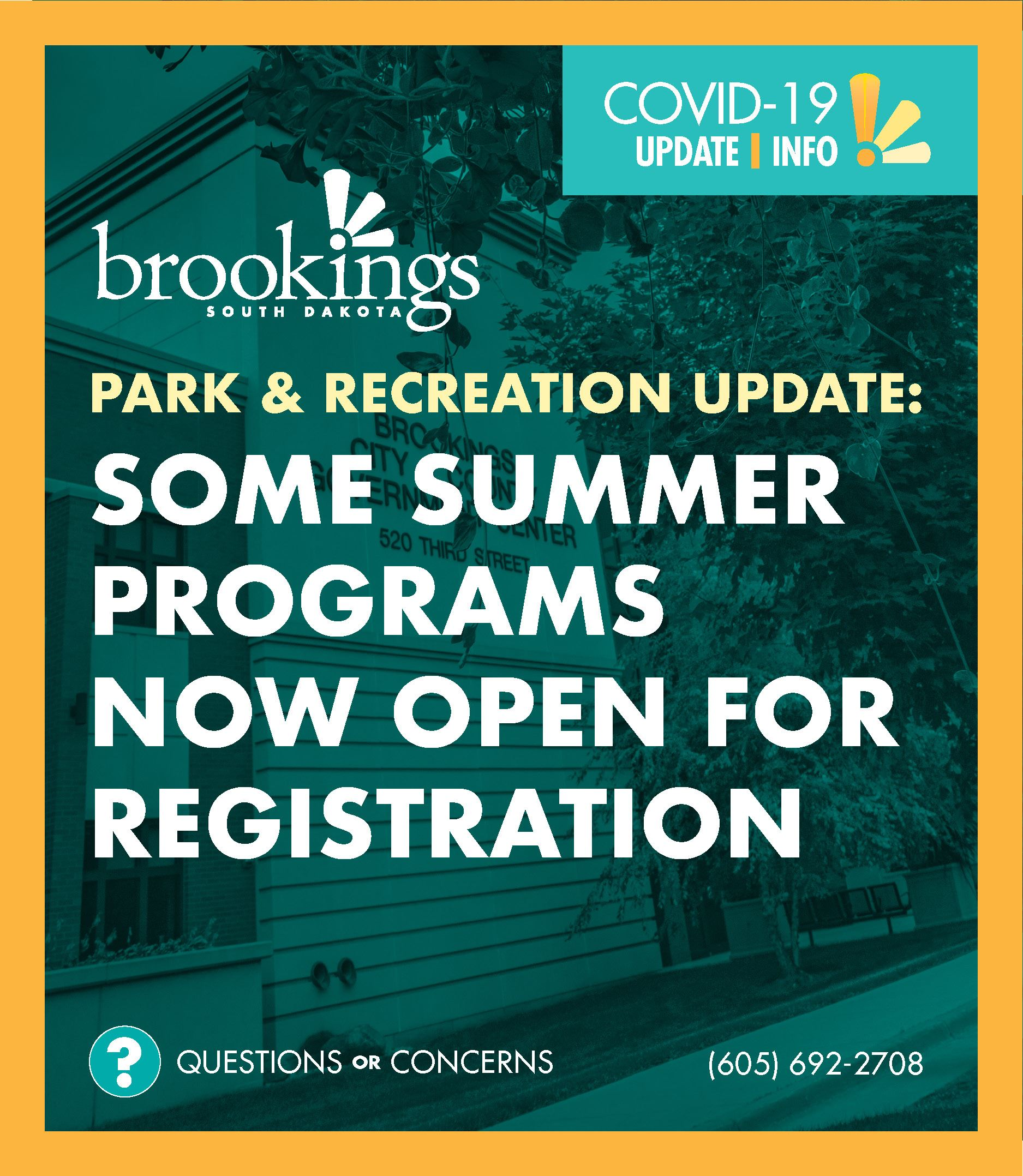 Park and Recreation Department to Open Registration for Some Programs