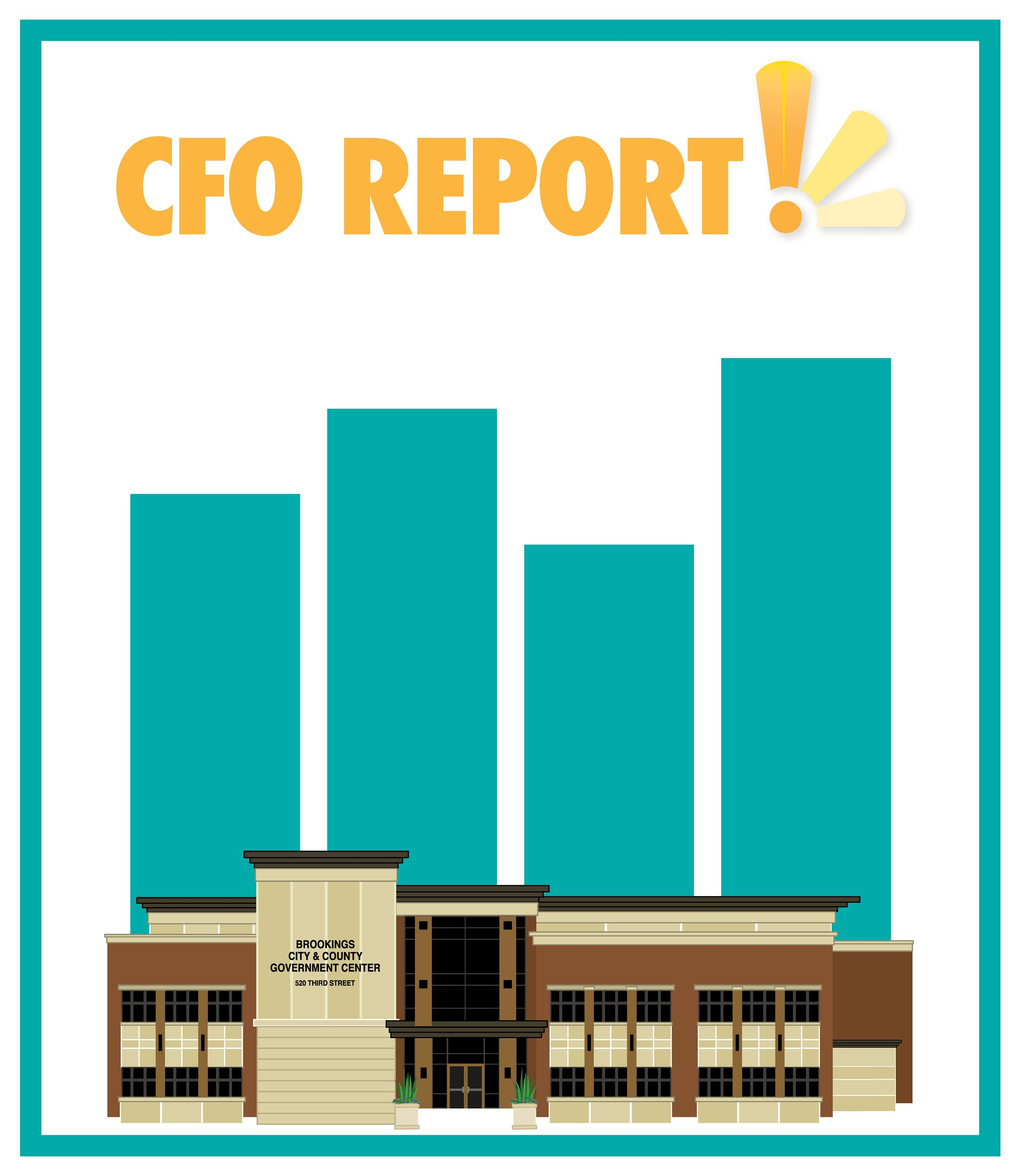 CFO REPORT: A graphic of a generic bar chart without numbers stands behind a illustration of the Cit