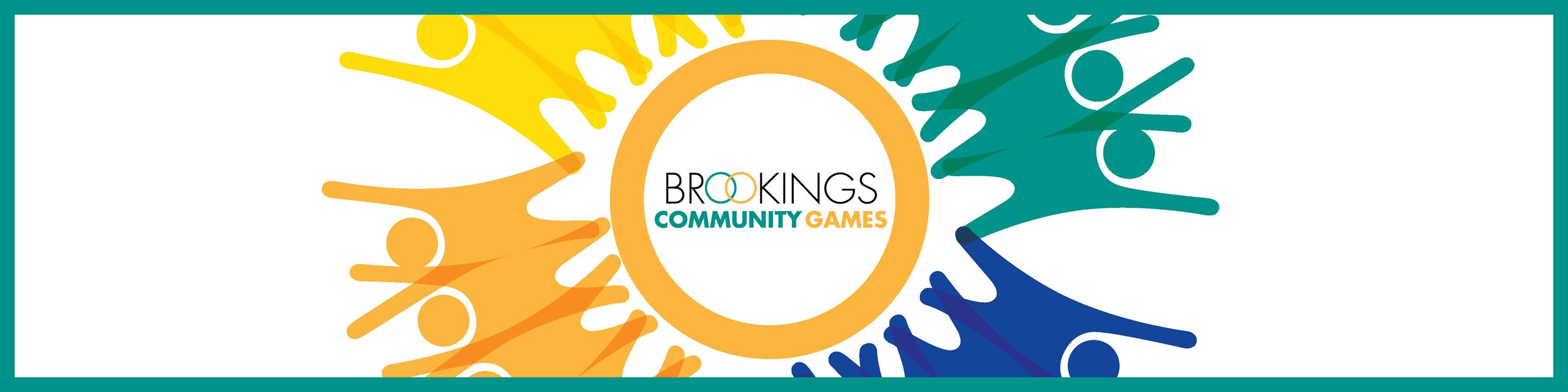 Website Header Graphic of Community Games logo with illustration of people holding hands