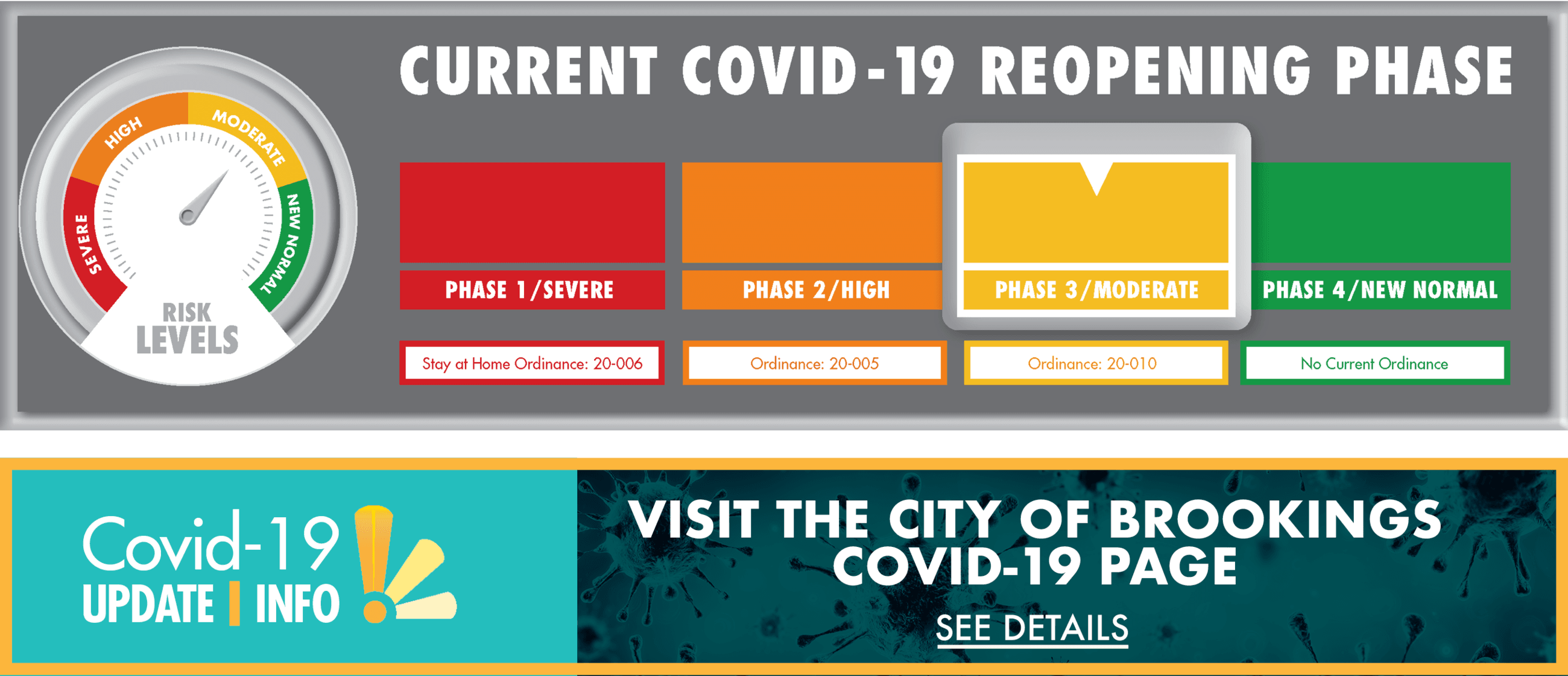 COVID 19 Update and information: Visit the City of Brookings COVID-19 Page; See Details (Link)