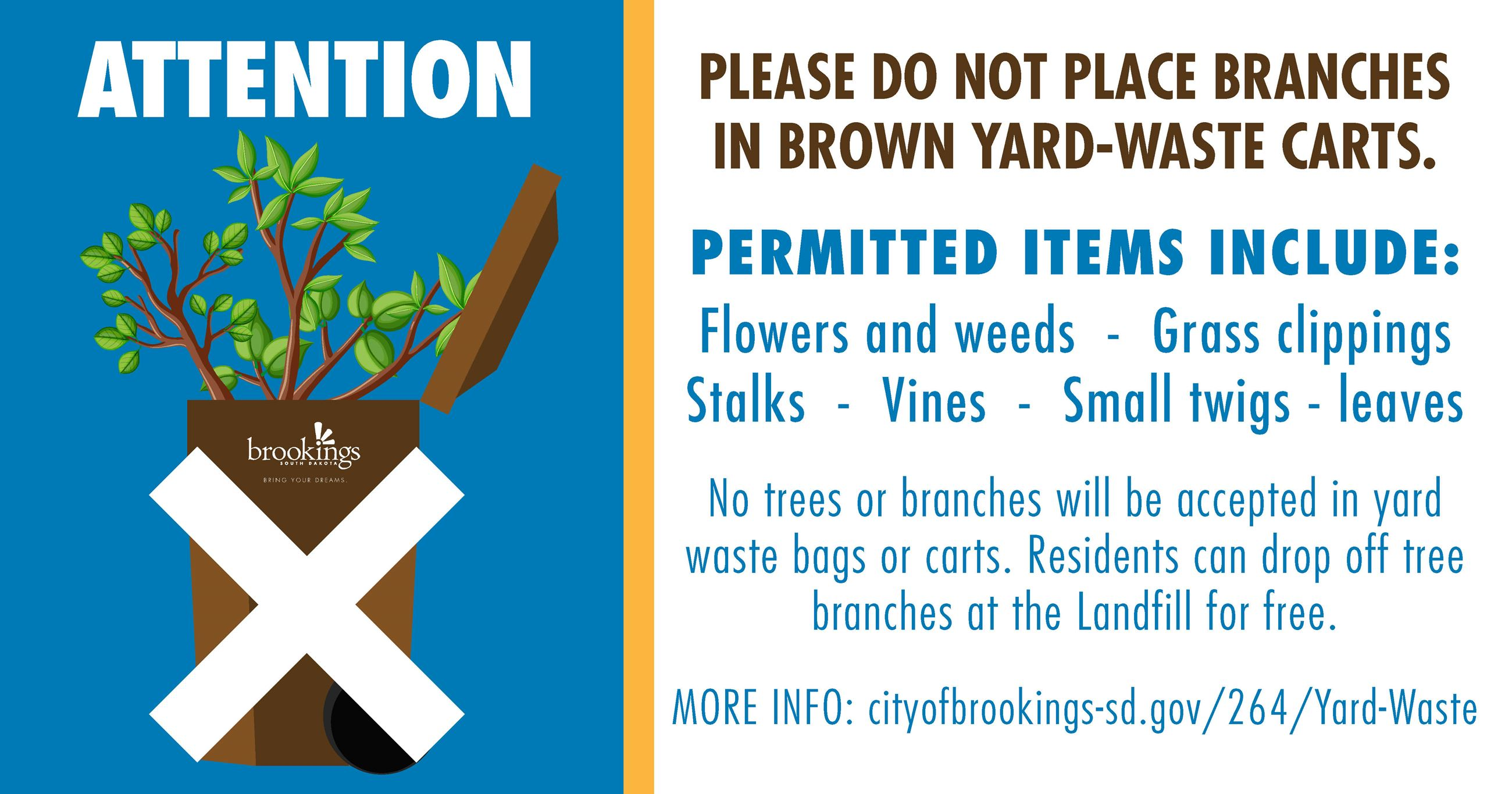 No Tree Branches Allowed Image of Yard Waste Cart with tree branches in it and x over it